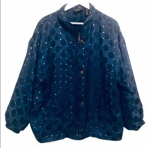 4/$25 Mureli vintage 80's silk blue & gold jacket Large